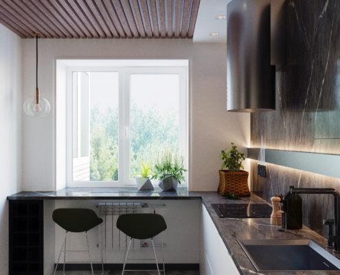 проектирование кухни в студии