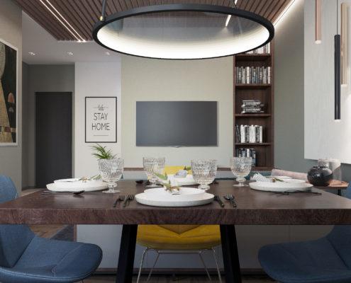 проектирование совмещенной кухни с залом